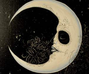 art, crescent moon, and drawing image