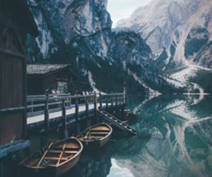 mountains, landscape, and boat image