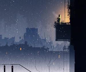 art, night, and illustration image