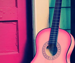 guitar, pink, and music image