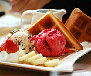 food, ice cream, and waffles image