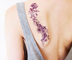 flowers, tattoo, and purple image
