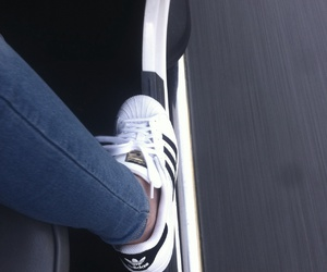 adidas, black and white, and car image