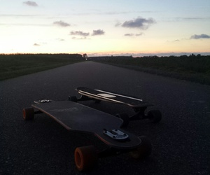 longboard, summer, and sunset image