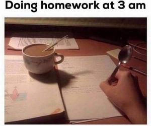 cansada, homework, and 3am image