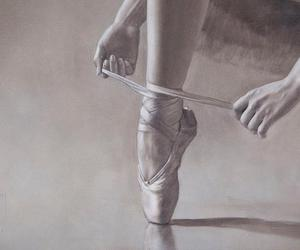 art, ballerina, and black and white image