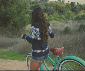 girl, bike, and hair image
