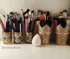 vanity and makeup brushes image
