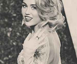 black and white, celebrity, and miley cyrus image