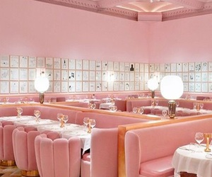 pink, pastel, and restaurant image