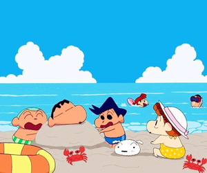 beach, shin chan, and wallpaper image
