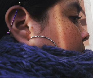 freckles, industrial, and piercing image