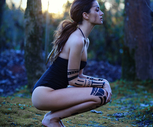 girl, tattoo, and forest image