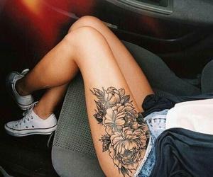 tattoo, flowers, and leg image