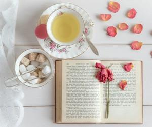 book, rose, and tea image