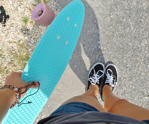 vans, penny board, and blue image