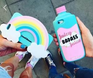girl, rainbow, and car image