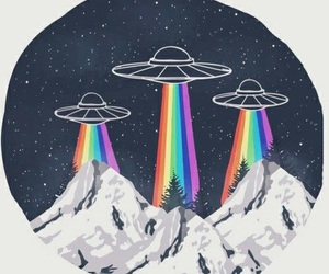alien, rainbow, and space image