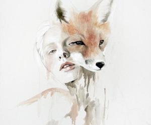 fox, art, and woman image
