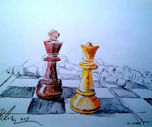 art, chess, and drawings image