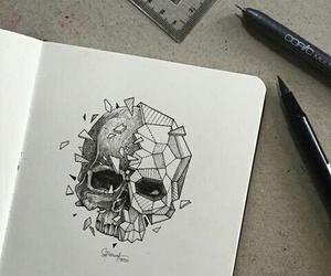 art, drawing, and skull image