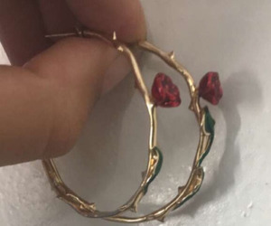 earrings, rose, and gold image