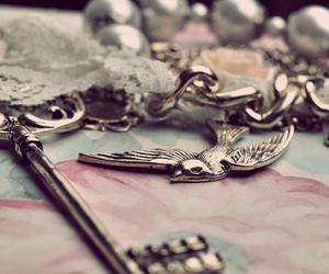 bird, key, and vintage image