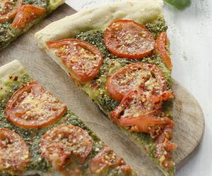 pizza, vegan, and pesto image
