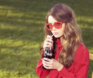 girl, glasses, and red image