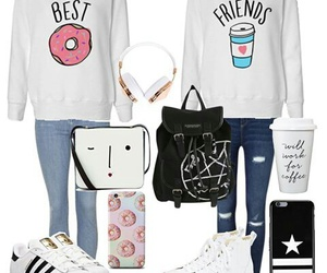 best friends, donuts, and fashion image