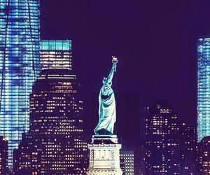 city, new york, and night image