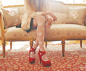girl, shoes, and red image