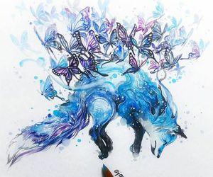 art, fox, and blue image