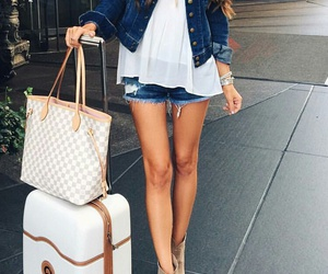 long wavy brown hair, white flowy tank top, and louis vuitton purse image