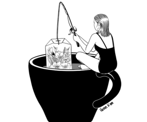 tea, art, and black and white image