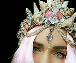 mermaid, crown, and pink image