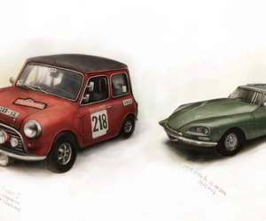 cars, drawing, and vintage image