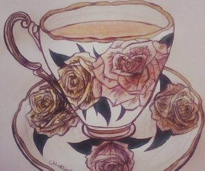 art, cup, and drawing image