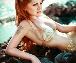 mermaid, beach, and crown image