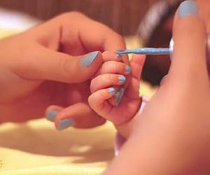 baby, nails, and blue image