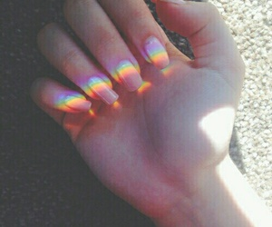 nails, rainbow, and grunge image