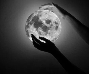 moon, hands, and night image