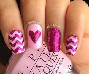 nails, fuchsia, and glitter image