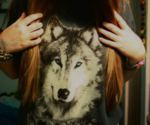 wolf, girl, and hair image