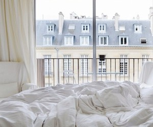bed, white, and room image