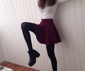 fashion, boots, and skirt image