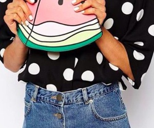 bags, clutch, and polka dots image