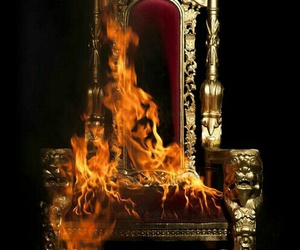 fire, throne, and dark image
