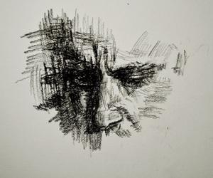 art, charcoal, and portrait image
