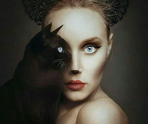 cat, art, and woman image